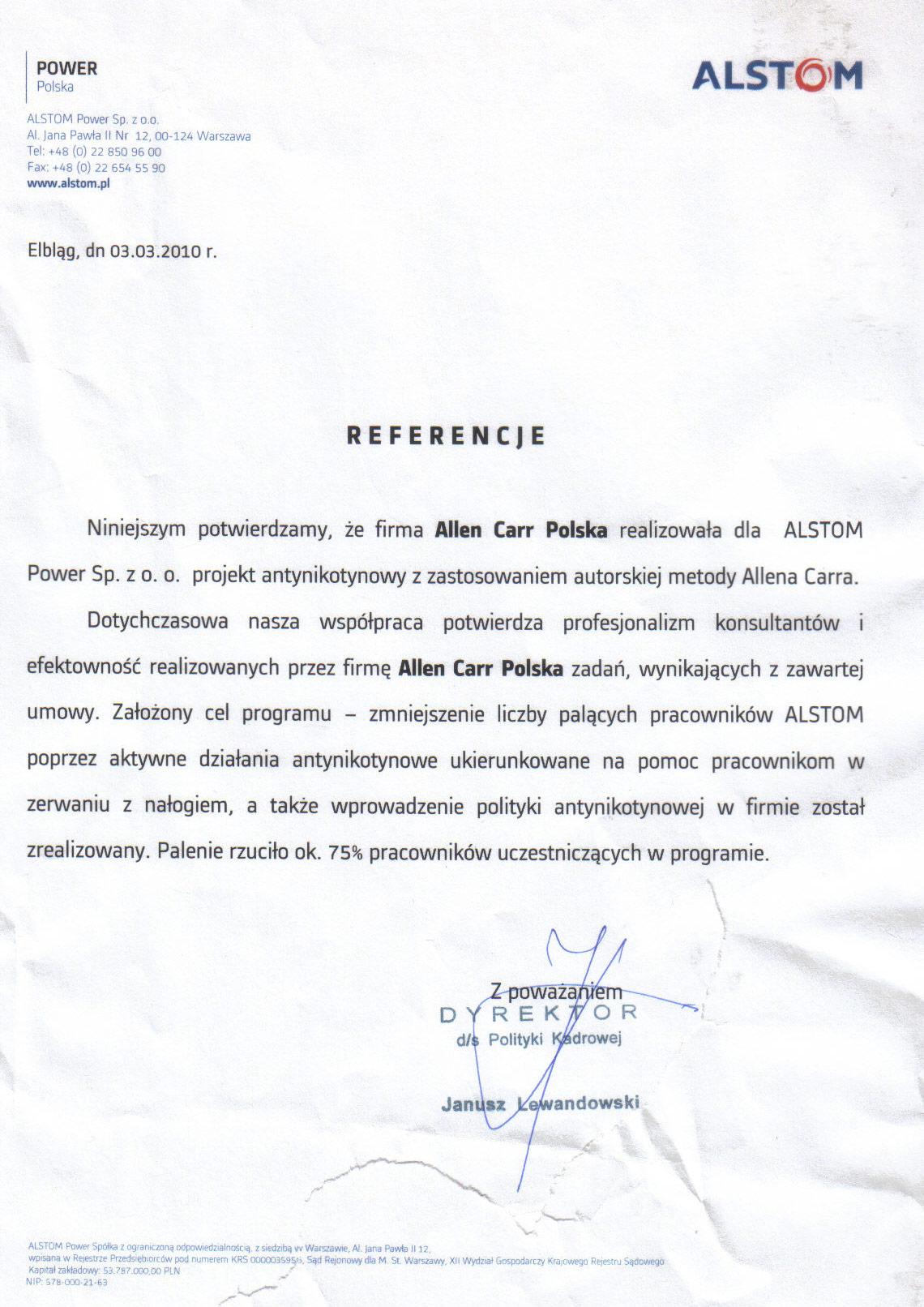 Allen Carr - Referencje – Alstom
